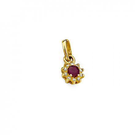 Biżuteria SAXO 14K Zawieszka z rubinem  0,15ct Z-185 Złoto z diamentem