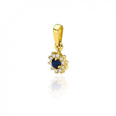 Biżuteria SAXO 14K Zawieszka z szafirem  0,15ct Z-185S Złoto z diamentem