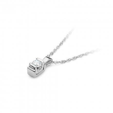 Biżuteria SAXO 14K Zawieszka 0,10ct Z-343 Białe Złoto z diamentem