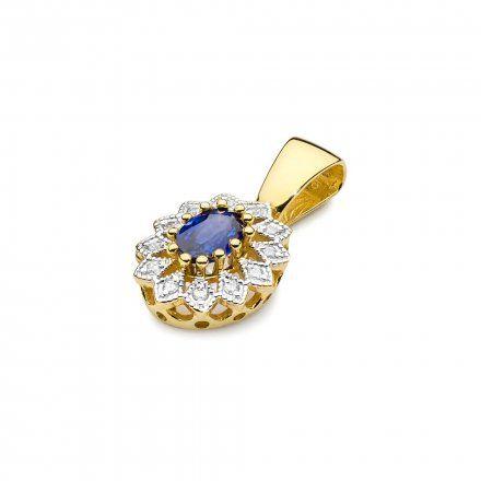 Biżuteria SAXO 14K Zawieszka z szafirem  0,70ct Z-354 Złoto z diamentem