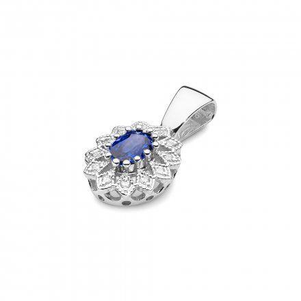 Biżuteria SAXO 14K Zawieszka z szafirem  0,70ct Z-354 Białe Złoto z diamentem