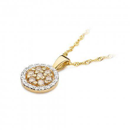 Biżuteria SAXO 14K Zawieszka 0,35ct /0,09ct Z-440 Złoto z brązowym diamentem