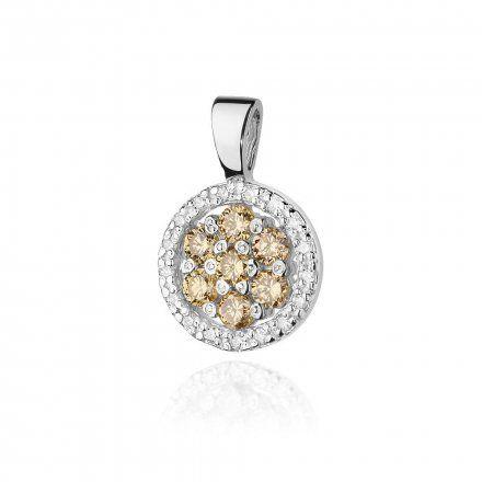 Biżuteria SAXO 14K Zawieszka 0,35ct /0,09ct Z-440 Białe Złoto z brązowym diamentem