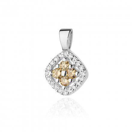 Biżuteria SAXO 14K Zawieszka 0,20ct /0,10ct Z-441 Białe Złoto z brązowym diamentem