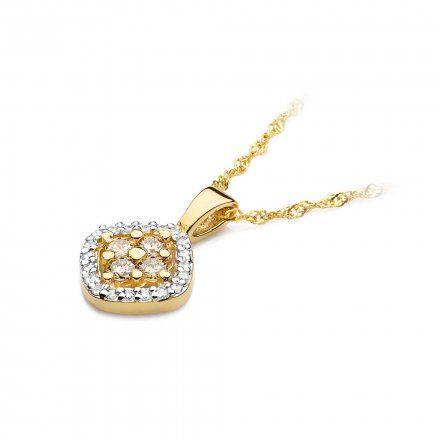 Biżuteria SAXO 14K Zawieszka 0,20ct /0,10ct Z-441 Złoto z brązowym diamentem
