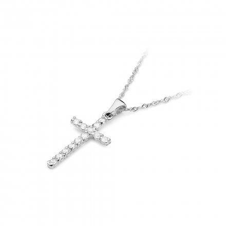 Biżuteria SAXO 14K Zawieszka krzyżyk  0,39ct K-6 Biale Złoto z diamentem