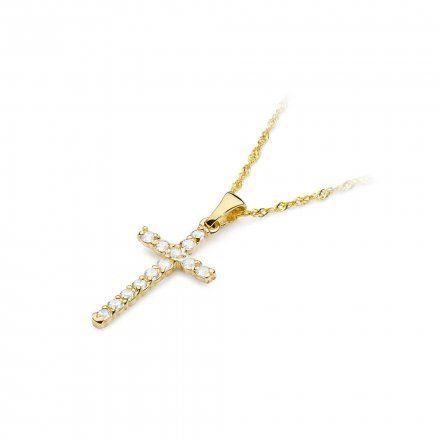 Biżuteria SAXO 14K Zawieszka krzyżyk  0,39ct K-6 Złoto z diamentem