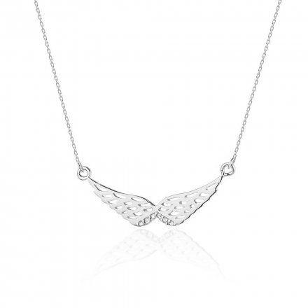 Biżuteria SAXO 14K Naszyjnik damski skrzydła C-9 Białe Złoto z diamentami