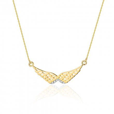 Biżuteria SAXO 14K Naszyjnik damski skrzydła C-9 Złoto z diamentami