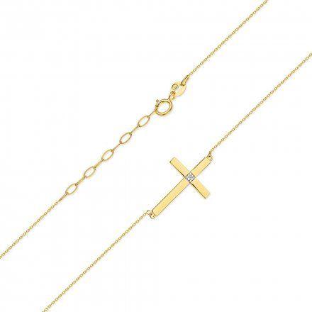 Biżuteria SAXO 14K Naszyjnik krzyż C-10 Złoto z diamentami