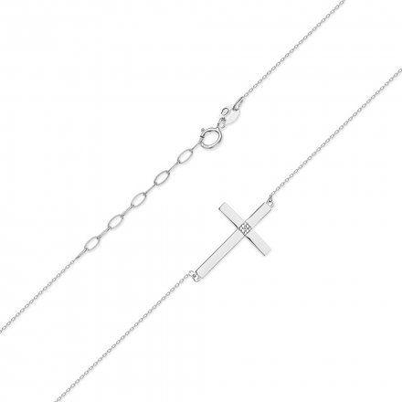 Biżuteria SAXO 14K Naszyjnik krzyż C-10 Biale Złoto z diamentami