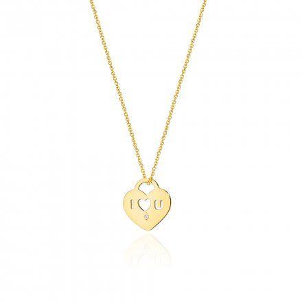 Biżuteria SAXO 14K Naszyjnik damski serce C-11 Złoto z diamentami