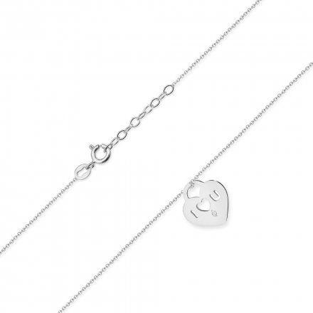 Biżuteria SAXO 14K Naszyjnik damski serce C-11 Białe Złoto z diamentami