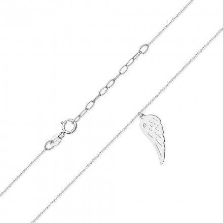 Biżuteria SAXO 14K Naszyjnik skrzydło C-12 Białe Złoto z diamentami