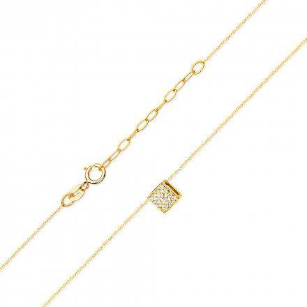 Biżuteria SAXO 14K Naszyjnik damski kostka C-13 Złoto z diamentami
