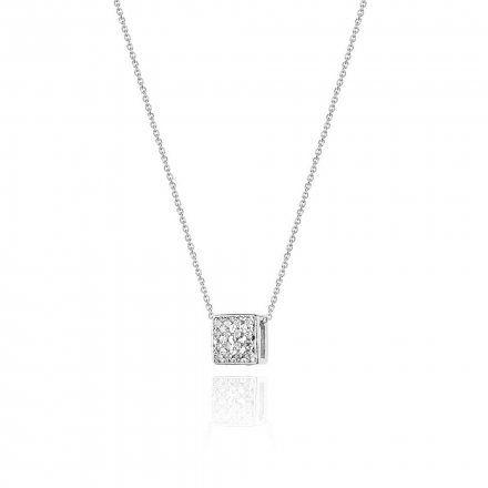 Biżuteria SAXO 14K Naszyjnik damski kostka C-13Białe Złoto z diamentami