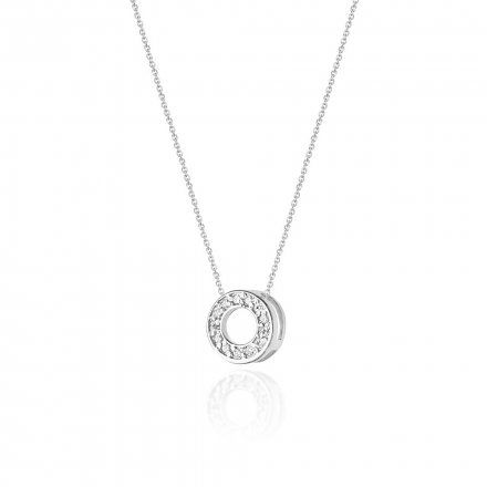 Biżuteria SAXO 14K Naszyjnik damski kółko C-14 Białe Złoto z diamentami
