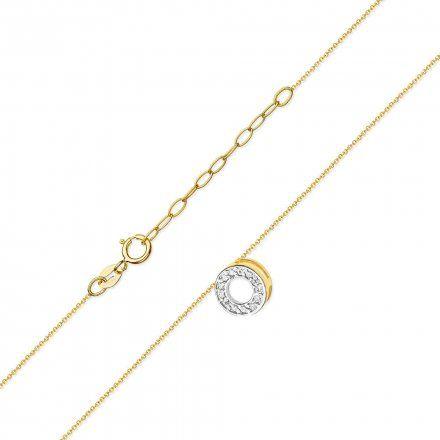 Biżuteria SAXO 14K Naszyjnik damski kółko C-14 Złoto z diamentami