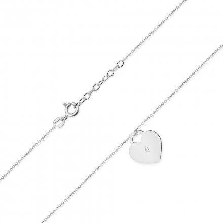 Biżuteria SAXO 14K Naszyjnik damski serce C-15 Białe Złoto z diamentami