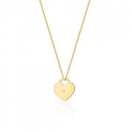 Biżuteria SAXO 14K Naszyjnik damski serce C-15 Złoto z diamentami