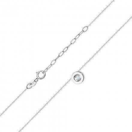 Biżuteria SAXO 14K Naszyjnik damski C-19 Białe Złoto z diamentami