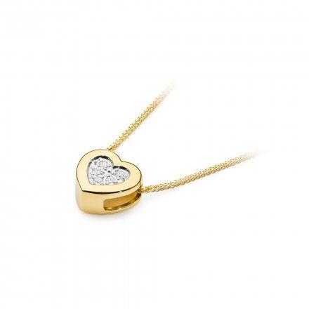 Biżuteria SAXO 14K Naszyjnik damski serce C-18 Złoto z diamentami
