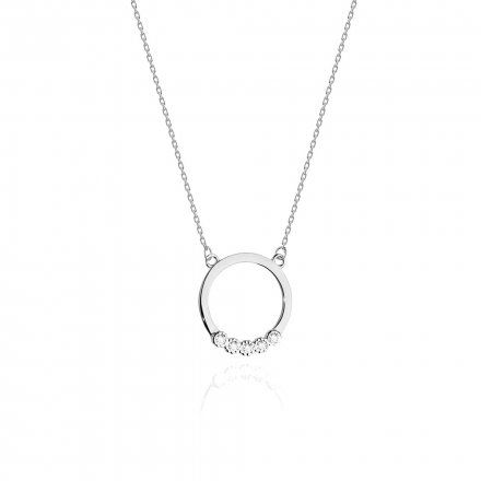 Biżuteria SAXO 14K Naszyjnik damski kółko C-20 Białe Złoto z diamentami