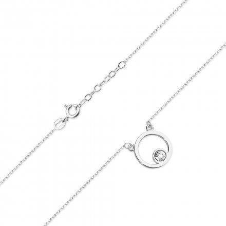 Biżuteria SAXO 14K Naszyjnik damski kółko C-22 Białe Złoto z diamentami