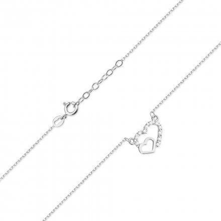 Biżuteria SAXO 14K Naszyjnik damski serce C-23 Białe Złoto z diamentami