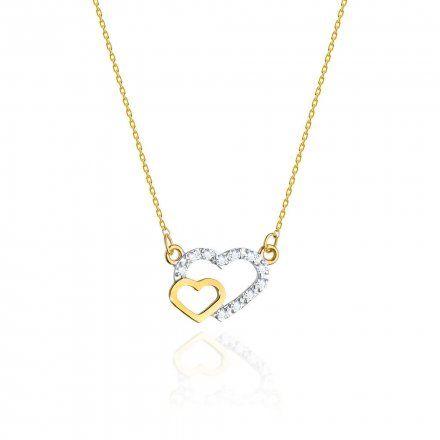 Biżuteria SAXO 14K Naszyjnik damski serce C-23 Złoto z diamentami