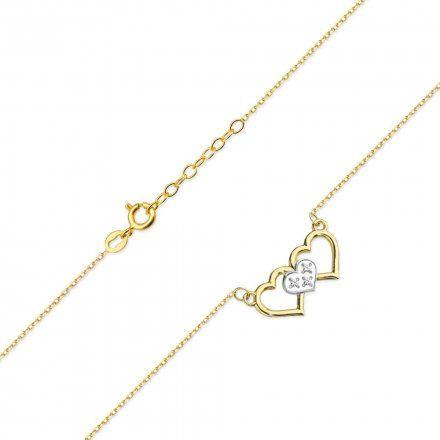 Biżuteria SAXO 14K Naszyjnik damski serce C-24 Złoto z diamentami