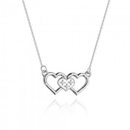 Biżuteria SAXO 14K Naszyjnik damski serce C-24 Białe Złoto z diamentami
