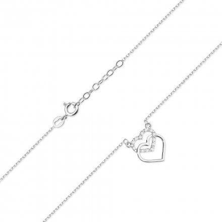 Biżuteria SAXO 14K Naszyjnik damski serce C-25 Białe Złoto z diamentami