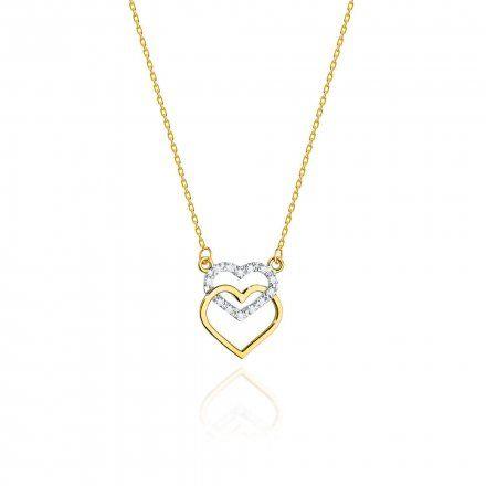 Biżuteria SAXO 14K Naszyjnik damski serce C-25 Złoto z diamentami