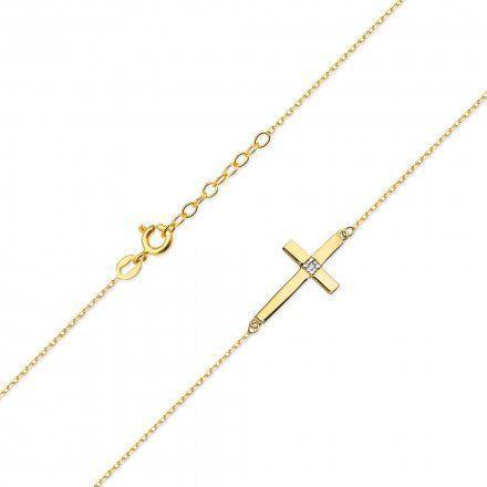 Biżuteria SAXO 14K Naszyjnik krzyż C-27 Złoto z diamentami
