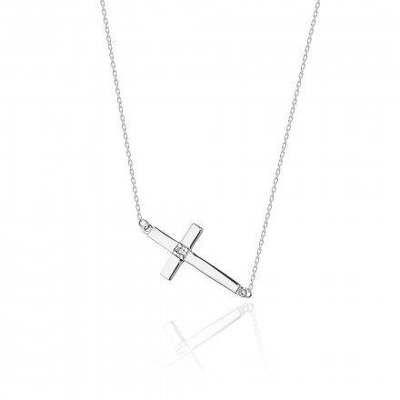 Biżuteria SAXO 14K Naszyjnik krzyż C-27 Białe Złoto z diamentami