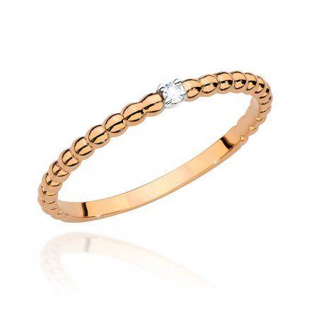 Biżuteria SAXO 14K Pierścionek z brylantem 0,02ct BC-001 Różowe Złoto