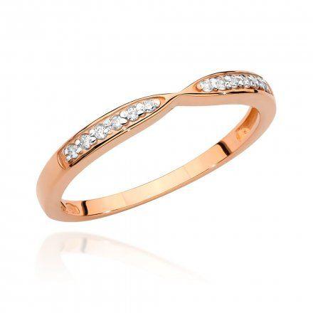 Biżuteria SAXO 14K Pierścionek z brylantem 0,10ct BC-003 Różowe Złoto