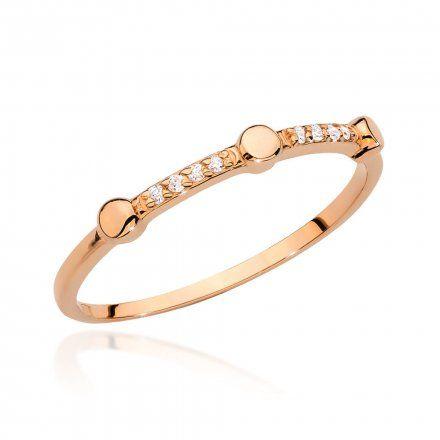 Biżuteria SAXO 14K Pierścionek z brylantem 0,04ct BC-004 Różowe Złoto