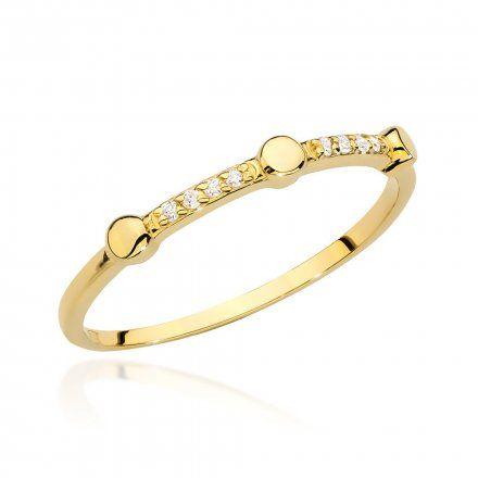 Biżuteria SAXO 14K Pierścionek z brylantem 0,04ct BC-004 Złoto