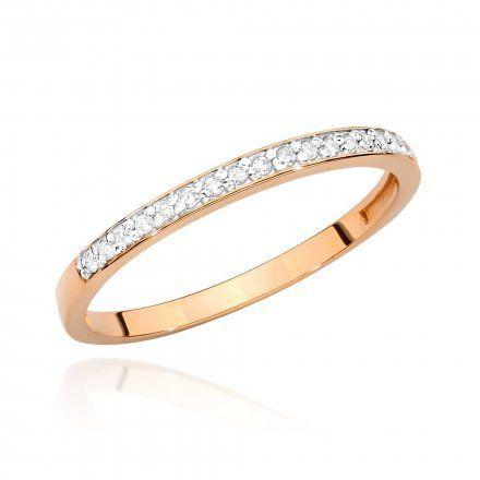 Biżuteria SAXO 14K Pierścionek z brylantem 0,09ct BC-005 Różowe Złoto