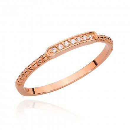 Biżuteria SAXO 14K Pierścionek z brylantem 0,04ct BC-006 Różowe Złoto