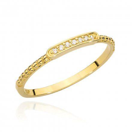 Biżuteria SAXO 14K Pierścionek z brylantem 0,04ct BC-006 Złoto