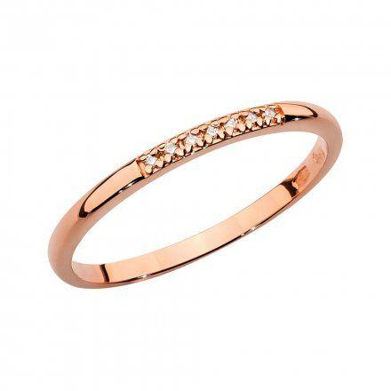 Biżuteria SAXO 14K Pierścionek z brylantem 0,04ct BC-007 Różowe Złoto