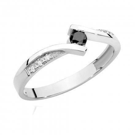 Biżuteria SAXO 14K Pierścionek z czarnym diamentem 0,12ct BC-008 Białe Złoto