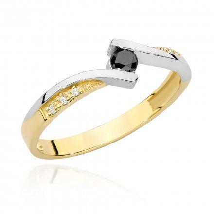 Biżuteria SAXO 14K Pierścionek z czarnym diamentem 0,12ct BC-008 Złoto