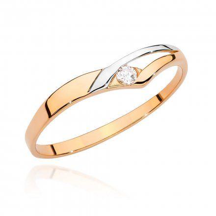 Biżuteria SAXO 14K Pierścionek z brylantem 0,04ct BC-009 Różowe Złoto