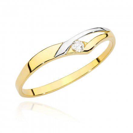 Biżuteria SAXO 14K Pierścionek z brylantem 0,04ct BC-009 Złoto