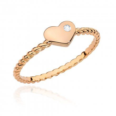 Biżuteria SAXO 14K Pierścionek z brylantem 0,03ct BC-010 Różowe Złoto