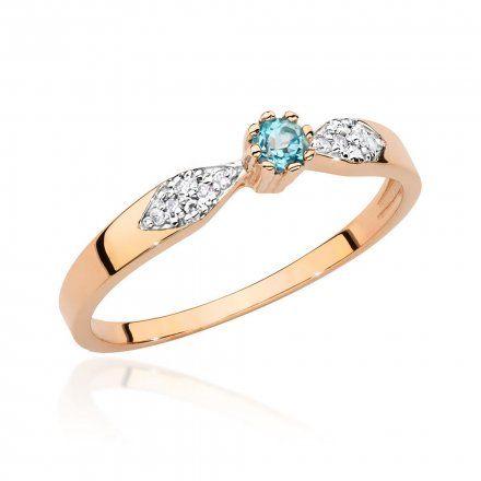 Biżuteria SAXO 14K Pierścionek z topazem i diamentami 0,15ct BC-013 Różowe Złoto